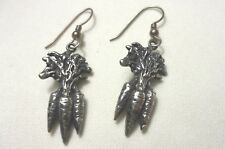 Carrot Bunch Earrings 925 Sterling Silver Dangle Drop Horse Equestrian Garden 3D