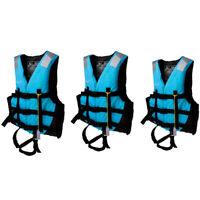 3pcs/Set Adult Life Jacket Vest Swimming Canoe Jet Ski Surfing XL+L+M Blue