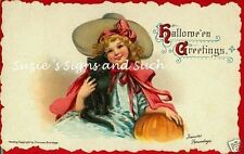 Fabric Block Vintage Halloween Greetings Witch BRUNDAGE