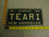 1968 68 NEW HAMPSHIRE NH VANITY LICENSE PLATE # TEARI SAD CRYING TEARY EYED