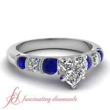 1 Ct Heart Shape Diamond Rings In 14K White Gold With Round And Sapphire Accents