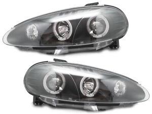 Projector Headlights For 2001-2005 Mazda Miata MX-5 w/ LED Halo-Black/Chrome