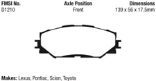 EBC Yellowstuff 4000 Brake Pad Set Front for Lexus / Toyota / Scion / Pontiac