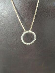 "14k 18 inch chain 10k Yellow Gold Diamond Eternity Circle Pendant 18"""