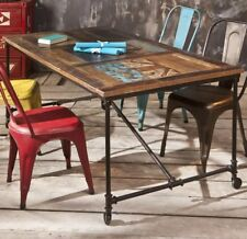 Vintage Industrial Dining Table Rustic Metal Furniture Retro Style Wooden Room