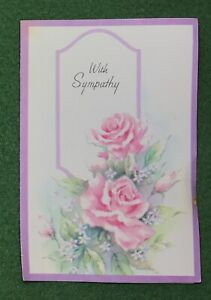 1970s Greeting Card With Sympathy  pretty pink Roses UNUSED