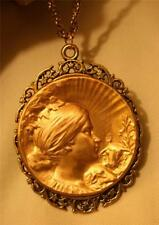 Lovely Swirl Rim Antiqued Gold Our Lady Mary Agnus Dei Lambs Pendant Necklace
