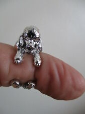 poodle dog  animal wrap   round ring   resizeable  silver colour new