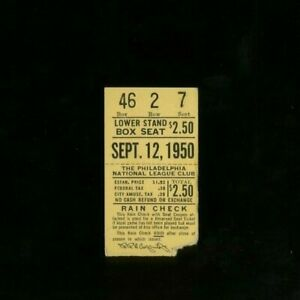 9-12-1950 St Louis Cardinals @ Philadelphia Phillies Ticket - Roberts CG Win