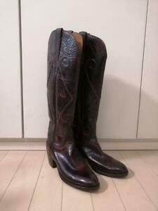 Lucchese Long Western Boots Low Heel Shoes Bordeaux US 7 Vintage From Japan