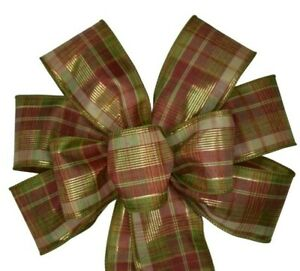 "10"" Hand Made Burgundy & Tan Metallic Fall Plaid Wired Wreath Bow Thanksgiving"