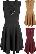 V Neck Skater Patternless Regular Size Dresses for Women