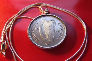 "Rare 1928 Irish Half Crown Pendant on a 22"" 925 Italian Round Silver Snake Chain"