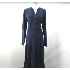 Denim & Co. Button Y-Neck Tiered Maxi Dress w/ Roll Tab Sleeve Navy - NEW