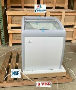 "NEW 26"" Ice Cream Gelato Chest Freezer Refrigerator Top Glass Mini Bunker NSF"