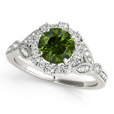 0.78 Carat Green Diamond Fancy Style Engagement Ring 14k Gold Best Deal Stylish