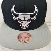 Mitchell & Ness Chicago Bulls White Logo Series Black Grey Snapback Hat Cap EUC
