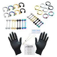 42x PRO 16G Body Piercing Kit Needle Barbell Tongue Lip Eyebrow Ring Clamps Tool