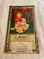 Waterford, CT, 1958 Vtg Calendar, Young Girl With Puppies, Chicks, Hendel's