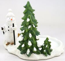 NEW Yankee Candle Holiday Skiing Snowman & Trees Large Jar Candle Holder