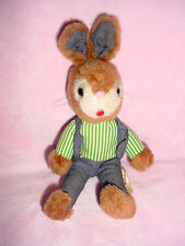 Vtg-Russ-Timmy-Easter Bunny Rabbit Stuffed Animal-Green stripe shirt-jean vest