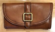 Nwt Women's FRYE Leather Claude Buckle Wallet, Whiskey Brown, MSRP $178.00