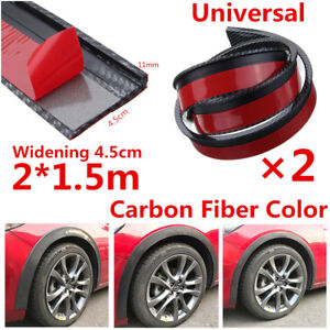 2Pcs 1.5M 4.5cm Widen Car Fender Flares Extension Wheel Eyebrow Protector Strips