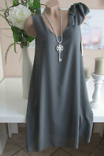 Italie Robe Ruban Élégant Robe Tunique Mousseline Extra-Large Gris 40 42 44