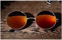 mode homme femme rétro rond Lunettes de soleil miroir sport extérieur lunettes