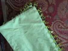 Pottery Barn Throw Pillow Case Square Solid Green Beaded Edge