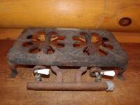 Vintage Antique Cast Iron 2 Burner Camp Stove Tabletop Stove Hotplate Untested