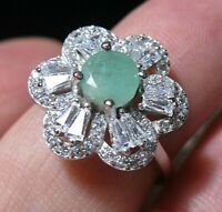 Beautiful STERLING SILVER Real Emerald Gem Stone Art Deco Revival RING Size N