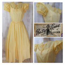 1940s True Vintage DRESS/GOWN~Yellow PARTY LINE~EMMA DOMB Taffeta Aline S/XS