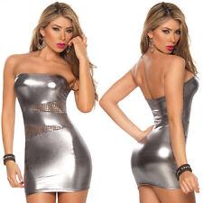 silber Leder Kleid Schulterfrei mit Spitze-Lack-Wäsche|sexy kurz für Party