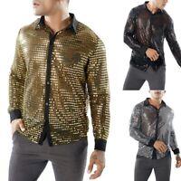 Men's Dots Glitter Sequins Long Sleeve Shirts Tops Nightclub Costume Dancewear