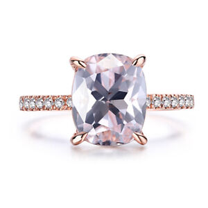 Natural Diamond 10K Rose Gold Morganite Cushion/Emerald/Radiant Cut 10x8mm Ring