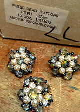 """VINTAGE Made in CZECHOSLOVAKIA  1 1/8"""" PRESSED BEADS 27mm Pearls 3 Buttons"""