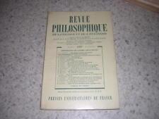 1957.revue philosophique N° spéc.Lévy-Bruhl.philosophie
