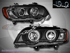 00-03 BMW X5 E53 DUAL HALO RIMS & LED STRIP PROJECTOR HEADLIGHTS BLACK