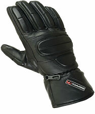 L Padded Fingers Leather Gloves Motorcycle Motorbike Waterproof Thermal Mittens