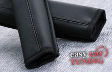 Para Mercedes Sprinter Negro de Cuero Genuino auténticas 2 Almohadillas cubiertas de cinturón de seguridad