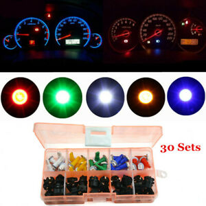 30x T5 Car Twist Socket Instrument Panel Cluster Mix Colour Dash Led Light Bulb