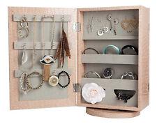 - New -Double Sided Mirror Swivel Jewellery Storage,Organiser Cabinet - Cinnamon