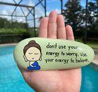 Hand Painted Buddhist Quote Baby Buddha Zen Life Lessons Mindful Stone Art #2