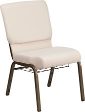 18.5''W BEIGE FABRIC CHURCH CHAIR, BOOK RACK - GOLD VEIN FRAME