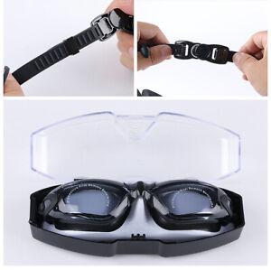Black Prescription Swimming Goggles Leakproof Anti-fog Nearsighted Glasses