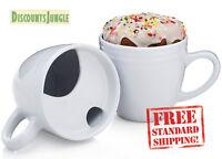 2pk Donut Warming White Ceramic Coffee Mug Set 20oz Cup Drip Trap Mustache Guard