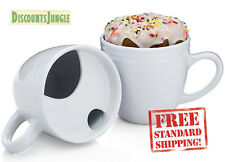 Set of Two Doughnut Aficionado's Warming Coffee Mugs - White 16 oz. PorcelainCof