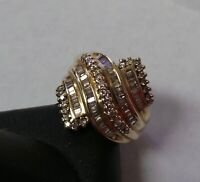 10k Yellow Gold Diamond Cluster Cocktail Swirl Ring .70ct 7.0g Size 7.25