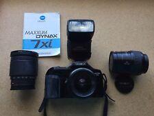 Minolta Maxxum 7Xi with 3 lenses and external flash